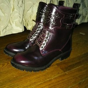 Mia Perry Bordaeux Combat Boots w Studs Rhinestone